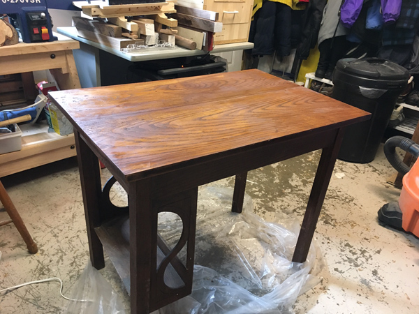 Working on table