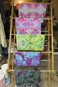 Snow dyeing drying on rack