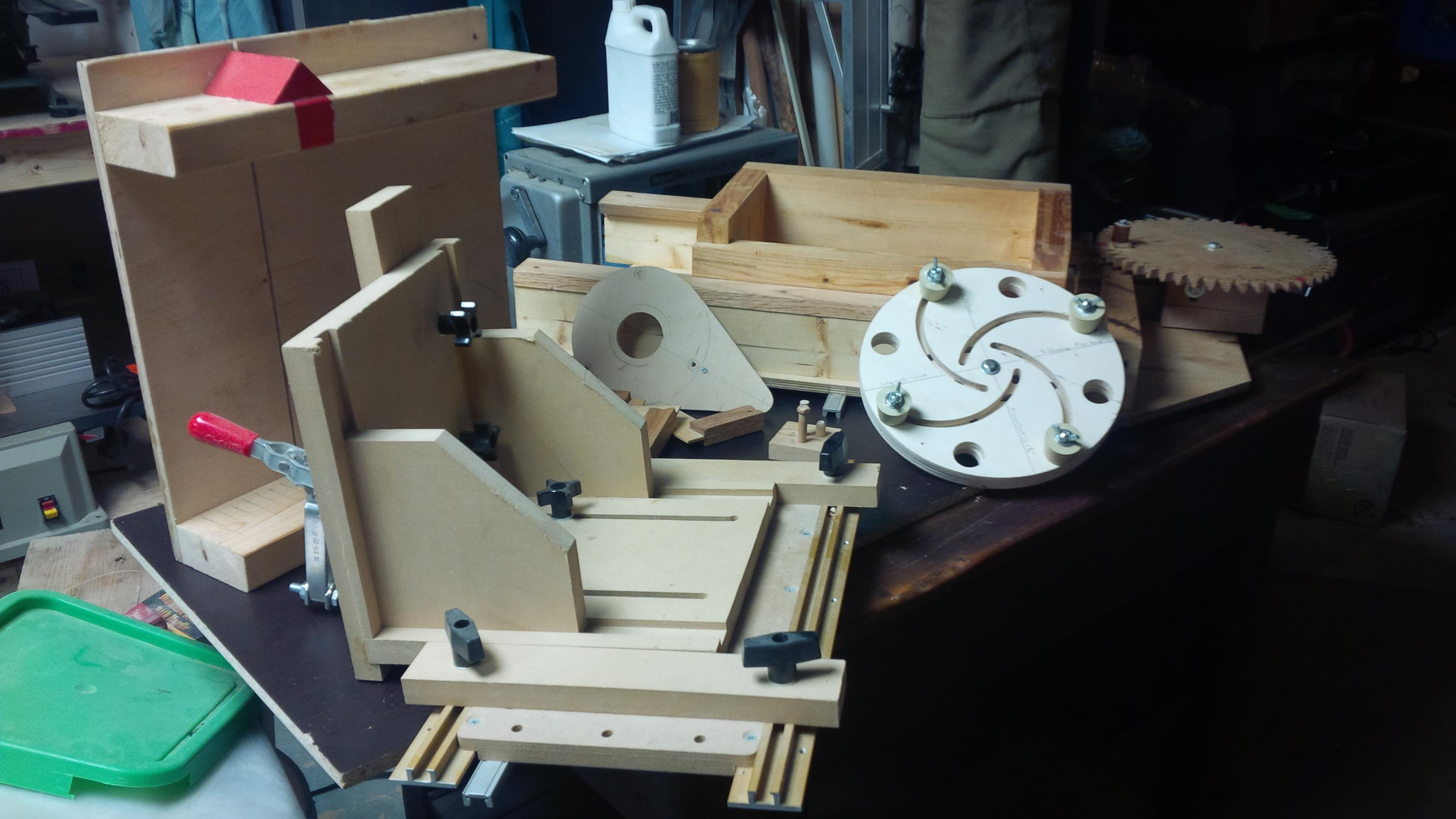 Various shop-built jigs