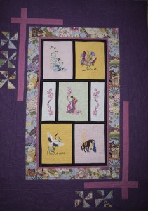 Japanese inspired wedding quilt in pink/purple