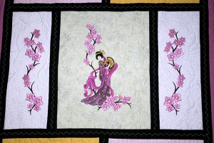 Close up of Japanese-inspired quilt center