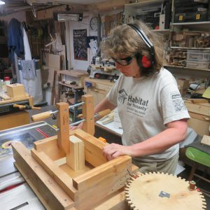 Working with Stephen's box joint jig, complete with wooden gears
